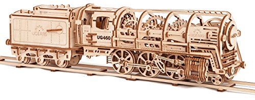 S.T.E.A.M. Line Toys UGears Mechanical Models 3-D Wooden Puzzle - Mechanical Steam Locomotive Train Engine