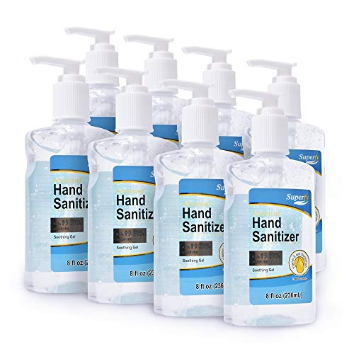 Superfy Hand Sanitizer, Moisturizing Gel Hand Wash with Pump,No-residue,Fast-drying Eight fl.oz (Pack of 8)