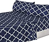 Utopia Bedding 4PC Bed Sheet Set 1 Flat Sheet, 1 Fitted Sheet, and 2 Pillow Cases (King Cal, Navy)