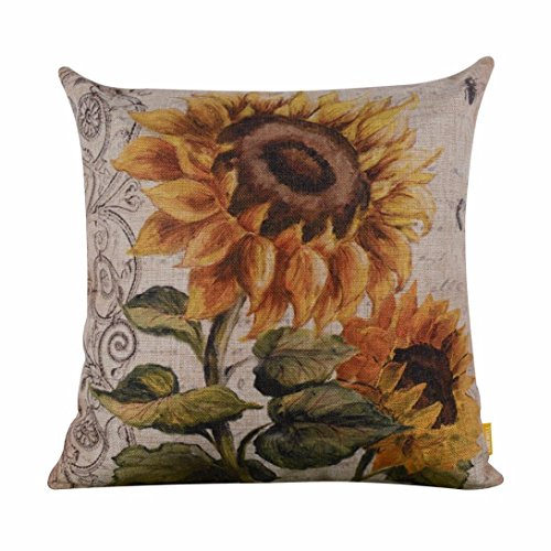Vintage Sunflower Throw Pillow Cover, Keepfit Square Linen Cushion Cover Home Sofa Car Decor Hot Selling