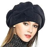 VECRY Women's 100% Wool Bucket Hat Felt Cloche Bow Dress Winter Hats (Beret-Black)