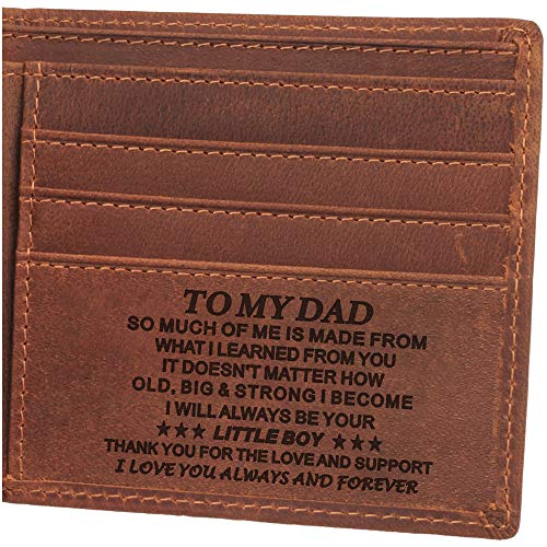 Personalized Leather Men's Wallet, Engraved Wallet for Dad Gifts, Birthday Day Gifts for Dad, Father's Day Gifts for Dad, Son to Dad Gifts Bifold Wallet