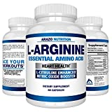 Premium L Arginine - 1340mg Nitric Oxide Booster with L-Citrulline & Essential Amino Acids for Heart and Muscle Gain   NO Boost Supplement for Endurance and Energy   60 Capsules