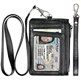 Badge Holder with Zipper, Premium Leather Slim Wallet RFID Credit Card Holder with 8 Card Slots for Man and Woman-Black