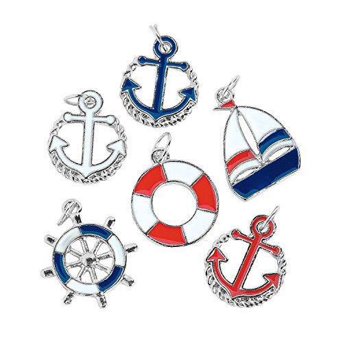 Fun Express - Patriotic Nautical Charms for Fourth of July - Craft Supplies - Adult Beading - Charms - Fourth of July - 24 Pieces