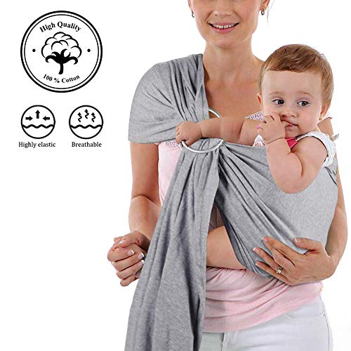 4 in 1 Baby Wrap Carrier and Ring Sling - Charcoal Gray Cotton - Use as a Postpartum Belt and Nursing Cover with Free Carrying Pouch - Best Baby Shower Gift for Boys or Girls