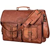 Komal's Passion Leather Leather Briefcase for Men and Women 18 inch Handmade Leather Messenger Bag for Laptop Best Computer Satchel School Distressed Bag (Four Pocket)