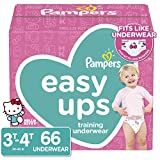 Pampers Easy Ups Pull On Disposable Potty Training Underwear for Girls, Size 5 (3T-4T), 66 Count, Super Pack (Packaging May Vary)