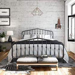 Novogratz Bushwick Metal Bed with Headboard and Footboard | Modern Design | Queen Size – Grey