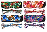 SOOLALA 4-Pair Designer Fashionable Spring Hinge Rectangular Reading Glasses w/Matching Pouch, 4PairB, 1.25