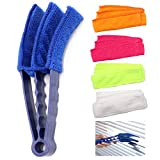 CISAY Window Blind Cleaner,Duster Brush With 1 Clamps and 5 Removable Sleeves-Blind Cleaner Tools For Blinds, Shutters, Shades, Air Conditioner Vent Covers, etc.-Quick, Easy, Washable, Reusable - Firm