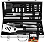 ROMANTICIST 20pc Heavy Duty BBQ Grill Tool Set in Aluminum Case - The Very Best Grill Gift for Everyone on Christmas - Professional BBQ Accessories Set for Outdoor Cooking Camping Grilling Smoking