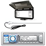 ClarionMarine Audio Single DIN Digital Media Stereo Receiver, Radio Protective Cover, AM/FM Rubber Mast Antenna
