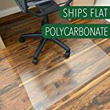 Polycarbonate Office Chair mat for Hardwood Floor, Floor mat for Office Chair(Rolling Chairs),Office mat for Hardwood Floor Sturdy&Durable, Immediately Flat When Taken Out of Box,36'x48' Thick 3/64""