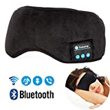 Bluetooth Headphones Sleep Eye Mask, AUYOUWEI V4.2 Bluetooth Wireless Sleeping Headsets Eye Cover Built-in Speakers Microphone Music Air Travel for iPhone, Cellphones, iPad, Tablets- Black