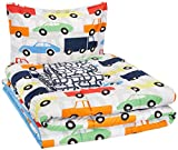 AmazonBasics Kid's Bed-in-a-Bag - Soft, Easy-Wash Microfiber - Twin, Multi-Color Racing Cars