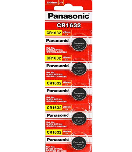 Panasonic CR1632 Multi Purpose including Remote Control for Cars 3 Volt Lithium Coin Battery-pack of 5