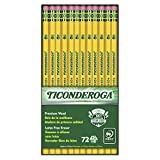 Ticonderoga Wood-Cased Graphite Pencils, #2 HB Soft, With Eraser, Yellow, 72 Count (33904)