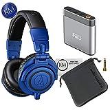 Audio-Technica ATH-M50x Monitor Headphones (Blue) + A1 Amplifier Bundle
