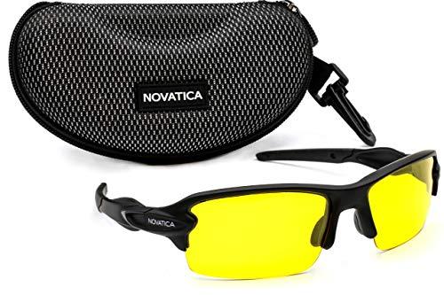 NOVATICA Anti Glare Night Driving Polarized TAC Glasses - HD Night Vision - UV Protection - Sport Sunglasses - Men & Women - Yellow TAC Clear Lenses - Durable TR 90 Frame Plus Accessories