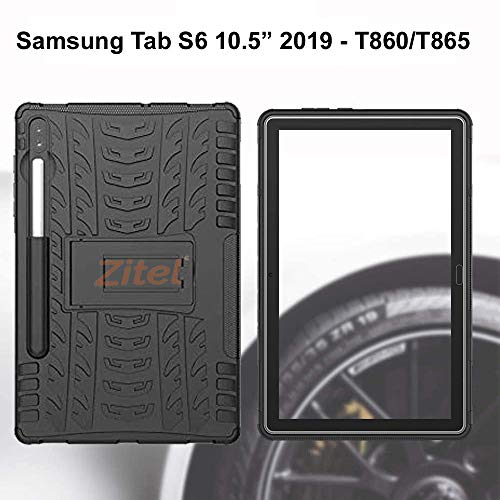 Zitel Armor Case for Samsung Galaxy Tab S6 2019 with S Pen Holder, Dual Layer Hybrid Drop Proof Full-Body Defender Cover with Stand for Samsung Tab S6 10.5 SM-T860/T865 - Black Armor 5
