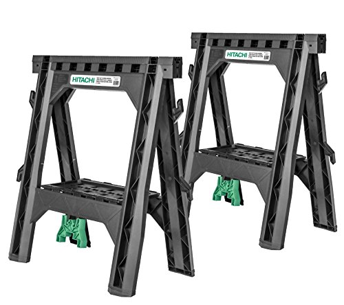 Hitachi 115445 Folding Sawhorses, Heavy Duty Stand, 4 Sawbucks, 1,200 lb Capacity, 2 Pack