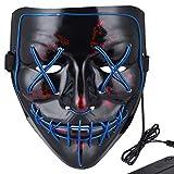 Anroll Halloween Mask LED Light Up Mask for Festival Cosplay Halloween Costume Blue