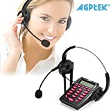 UPGRADED Call Center Phone, AGPtEK Corded Telephone with Binaural Headset & Dialpad for House Call Center Office - Noise Cancellation