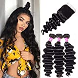 Ugrace Hair Bundles with Closure Brazilian Loose Deep Wave with Closure Virgin Human Hair with Closure Full and Thick Brazilian Hair with Closure Natural Color 14 16 18+14 Inch Free Part