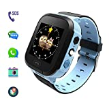Kids Smart Watches, Kids Watches with GPS for Boys, Children Tracker Watches, Featuring Real Time Positioning/SOS Emergency Alarm/Voice Messages, Kids Wrist Watches, The Best Birthday Gifts Ever(Blue