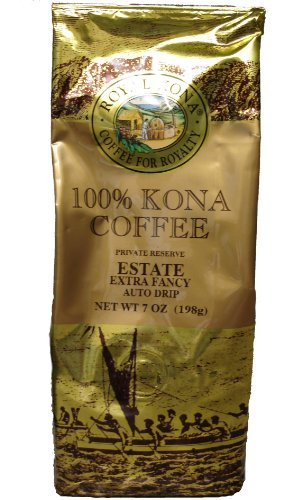 Royal Kona Award Winning 100% Kona Coffee, Estate Extra Fancy, Medium Roast, Ground, 7oz.