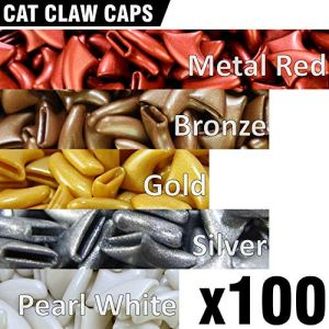 100 pcs Soft Cat Claw Caps for Cats Nail Claws 5X Colors + 5X Adhesive Glue + 5X Applicator, Pet Tips Cover Paws Soft Covers 2