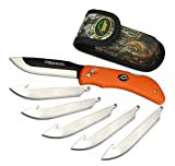 Outdoor Edge RazorBlaze, RB-20, Replaceable Razor Blade Hunting Knife, Blaze Orange Handle with Mossy Oak Sheath and 6 3.5 Inch Blades