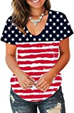 Jescakoo Plian Funny T Shirts for Womens USA Flag Printed Short Sleeve Tops S