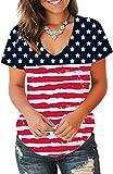 Jescakoo Plian Funny T Shirts for Womens USA Flag Printed Short Sleeve Tops S