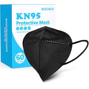 KN95 Face Mask 60 Pack, BLScode Black KN95 Mask Individually Wrapped, 5-Layer KN95 Face Mask with Comfortable Elastic… 2