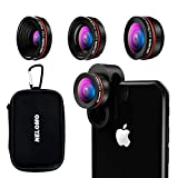 NELOMO Universal Professional HD Camera Lens Kit for Compatible with IPhone X/8/7Plus/7/6sPlus/6s, Samsung S9 Plus/S8 and Other Cellphones ( Fisheye Lens, Super Wide Angle Lens, Super Macro Lens)