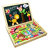 Fajiabao Wooden Educational Toys, Double Side Magnetic Cute Animal Jigsaw Puzzle Drawing Board, Early Learning Games Birthday Gifts for Kids Boys Girls, Multiple Themes, Random Delivery