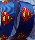 "Grosgrain Ribbon **Superman Print** - 7/8""wide - 5 Yards - Hair Bows, Craft"