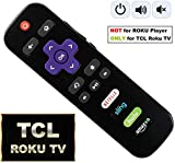 [NEW 2018] Roku TV remote with Power/Volume Control and UPDATED 4 Shortcuts NETFLIX SLING (RC280 RC282 Standard IR replacement for TCL Roku Smart TV)