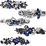 Blulu 5 Pieces Crystal Rhinestones Hair Barrettes Flower Butterfly French Clip Vintage Spring Hair Clips Bridal Hair Jewelry for Women Girls