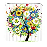Malicosmile Shower Curtain Tree, Colorful Shower Curtains with Hooks No Liner Needed 72 x 72 Inch