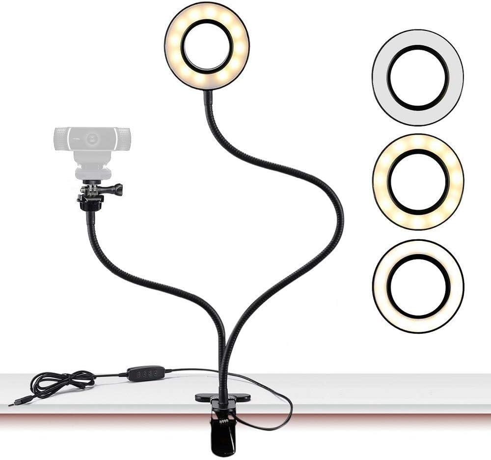 Support d'éclairage de Webcam pour Live Stream, éclairage annulaire Selfie avec support de fixation de webcam pour Logitech C925e, C922X, C930e, C922, C930C920, C615, Brio 4K