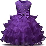 NNJXD Girl Dress Kids Ruffles Lace Party Wedding Dresses Size (140) 6-7 Years Deep Purple