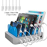 Hercules Tuff Fastest Charging Station - Great Organization Tool for Multiple Devices for Your Family! 6 USB Charger Cables Included (3 Types) - lphone, lpad, Samsung Phones, Tablets (UL Certified -