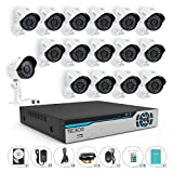 TECBOX 720P Security Camera System 16CH Surveillance DVR with 16 1.3mp Weatherproof CCTV Cameras Day&Night Remote View Surveillance Video System 1TB Hard Drive Preinstalled
