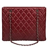 Ainifeel Women's Genuine Leather Quilted Top Handle Handbag Purse Tote (Claret red)