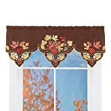 Collections Etc Colorful Fall Leaves Embroidered Window Valance with Intricate Cutwork and Rod Pocket on Top for Easy Hanging