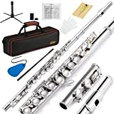 Eastar EFL-1 Closed Hole C Flutes 16 Key Nickel Beginner Student Flute -Musical Instrument With Carrying Case Stand Gloves Cleaning Rod and Cloth