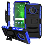 BEBEST-Motorola Moto G6 Case w/Screen Protector & Built-in Kickstand & Belt Clip[Hybrid Dual Layer][Shockproof Bumper] Rugged Heavy Duty Full Body Armor Protective Cover for Moto G6 5.7'(Black)
